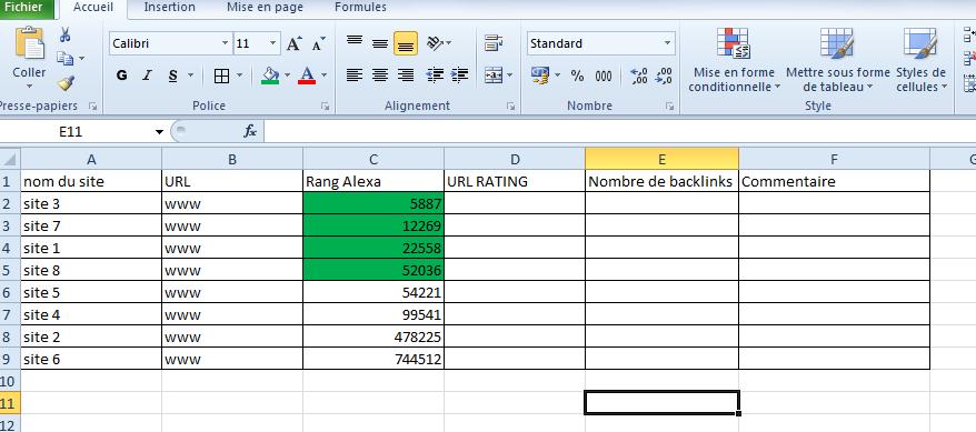 Résultat Excel