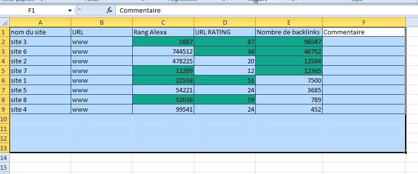 Liste Excel à jour