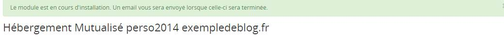 confirmation de l'installation de wordpress