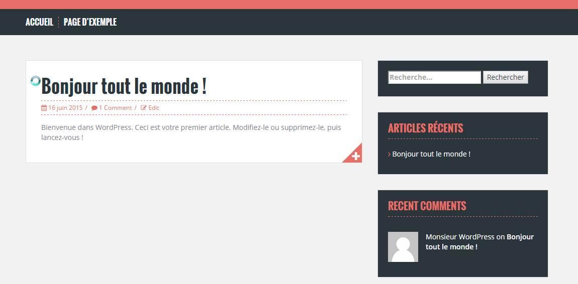 page d'accueil de votre nouveau blog