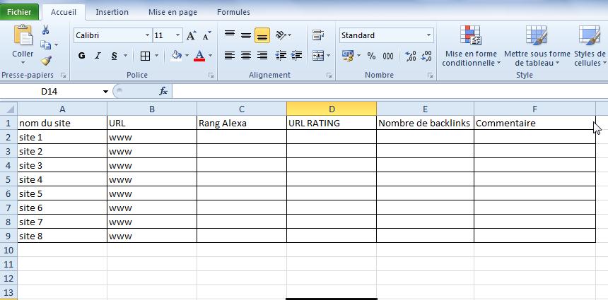 Utiliser Excel pour classer les blogs les plus connus de votre thématique