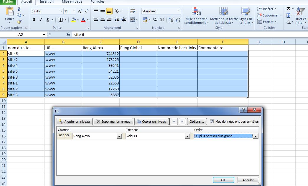 Mettre a jour sous Excel