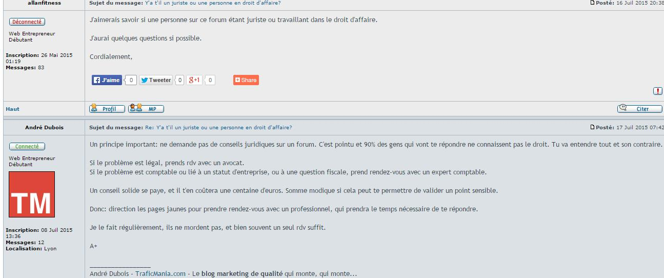 extrait d'un forum marketing