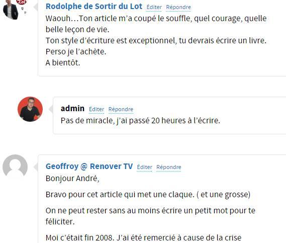 commentaires nombreux sur mon blog