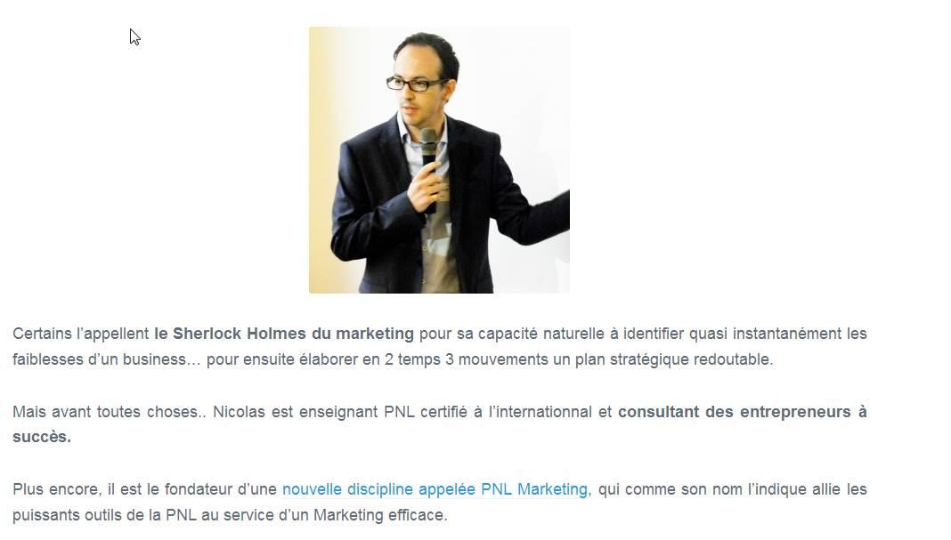 page de vente Nicolas Pene
