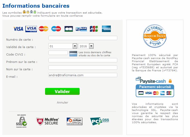 Solutionde paiment par carte bleue