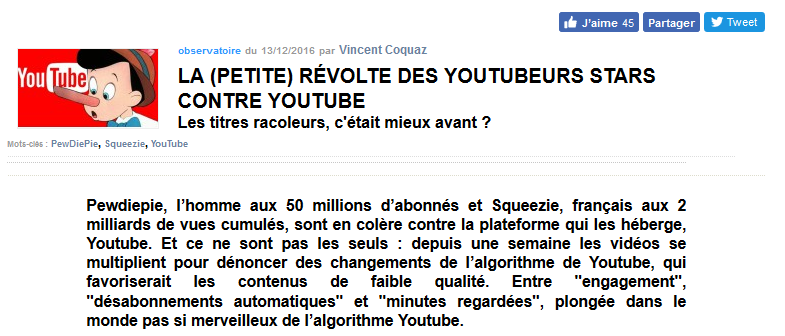 conflit youtube youtubeur