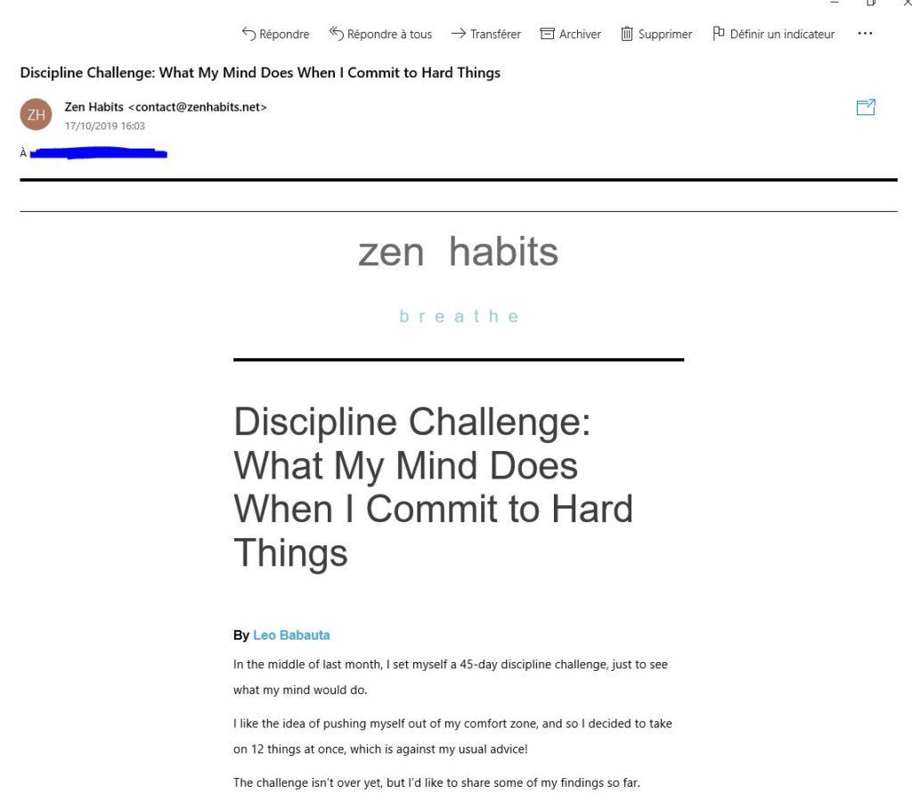 Exemple d'email envoyé aux inscrits du blog Zen Habits