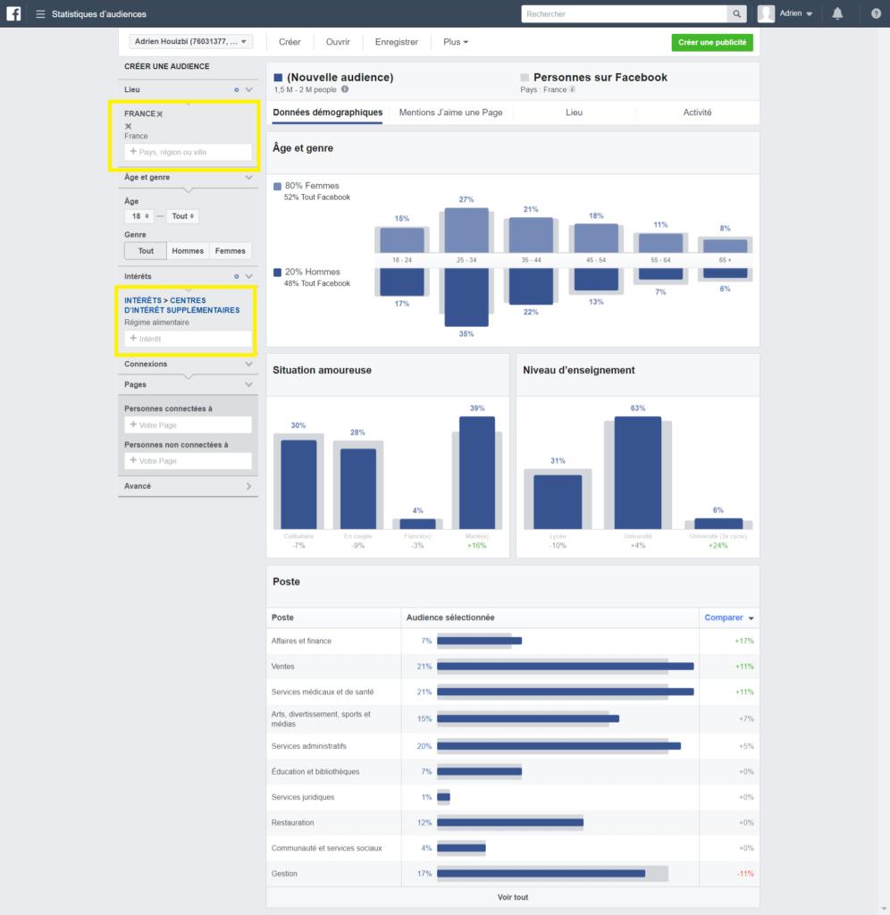 gestionnaire de publicité Facebook tableau de bord
