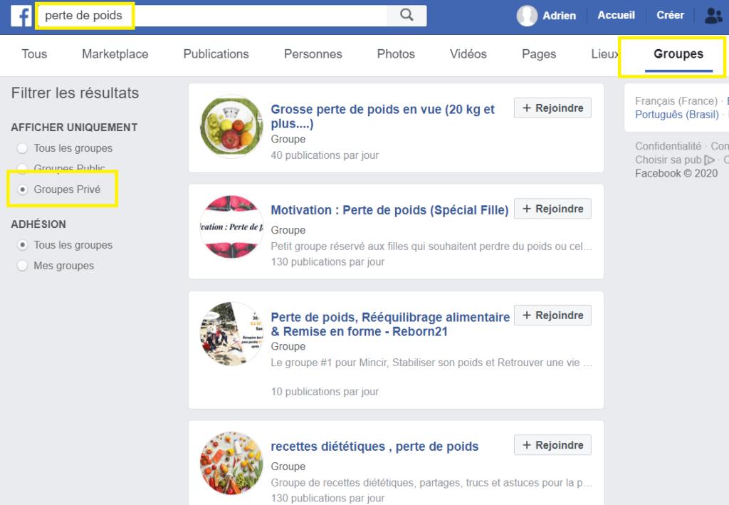 recherche de groupe Facebook
