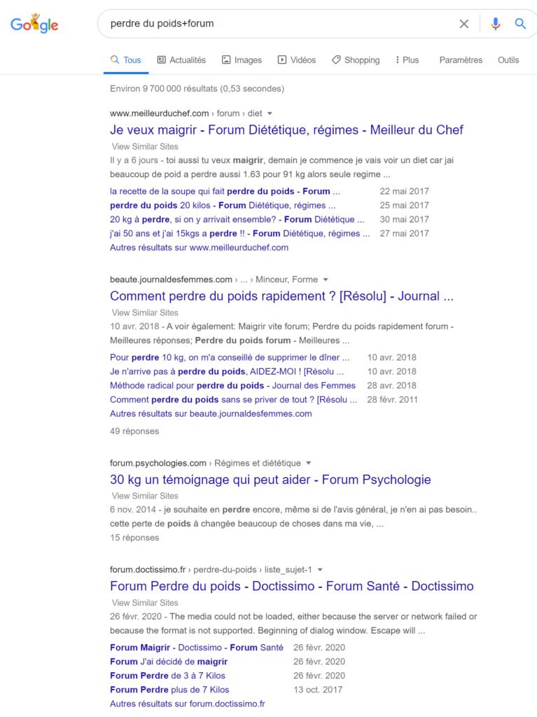 page de résultats de recherche Google