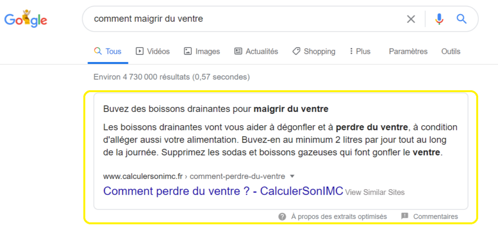 position 0 google : featured snippet